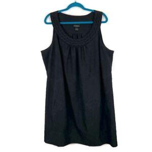 Lane-Bryant-Black-Crinkle-Braided-Neck-Sleeveless-Dress-Plus-Size-26-Pockets