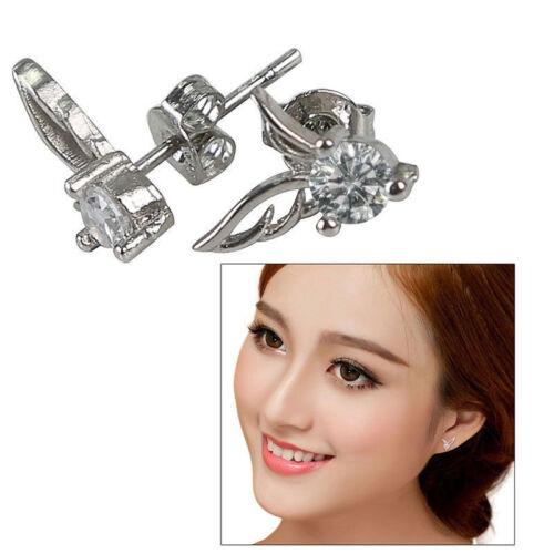 UK Womens Angel Wing Earrings 925 Sterling Silver Crystal Studs Ear Stud Fashion