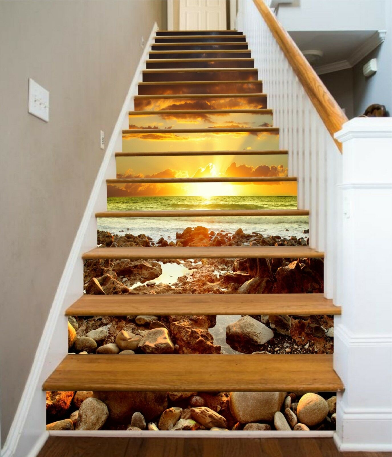 3D Sunset Stone 9 Stair Risers Decoration Photo Mural Vinyl Decal Wallpaper CA