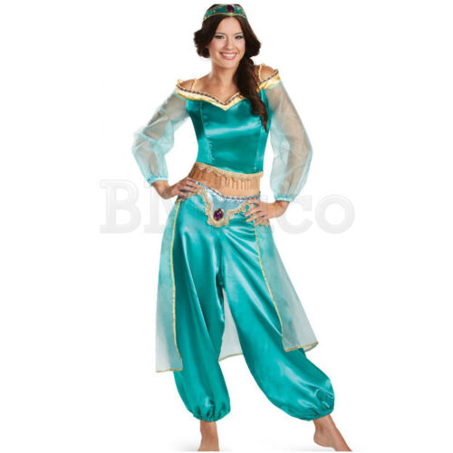 For Princess Jasmine Aladdin Cosplay Costume Girls Fancy Dress Ball Womens Dress