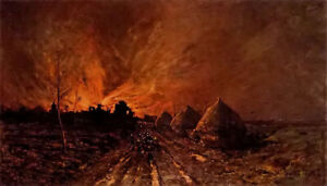Oil-painting-emile-breton-the-conflagration-Rural-night-scene-landscape-canvas