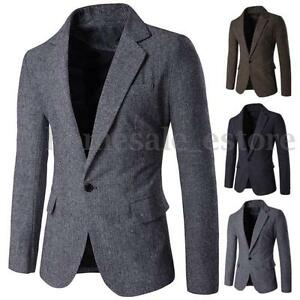 Men-Casual-Long-Sleeve-Jacket-Tops-Busniess-Formal-One-Button-Suit-Blazer-Coat