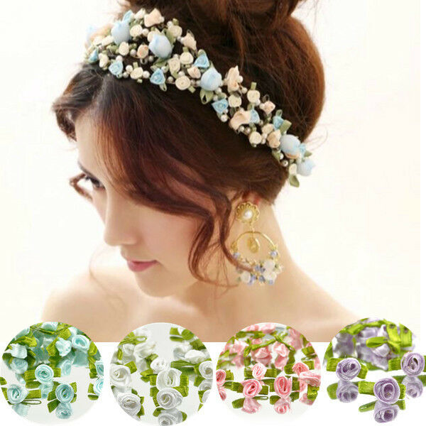 100PCS Ribbon Rose Wedding Flower Satin Decor Bow Appliques Craft Sewing DIY