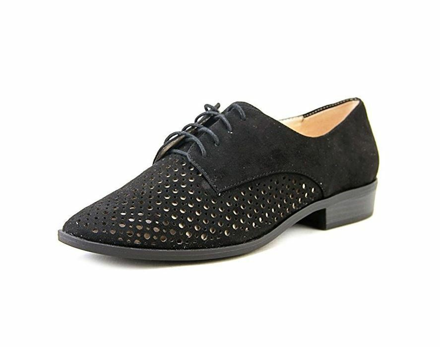 Bar III Wouomo Gelsey Lace Up Oxford Flats, nero, Dimensione 8.5