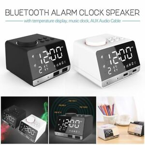 Bluetooth-FM-Radio-Alarm-Clock-With-USB-Charging-Wireless-Mirror-Bass-Speaker