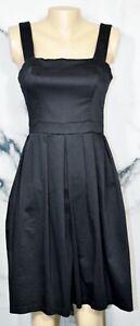 ELORIE-Black-Stretch-Cotton-Sleeveless-Dress-4-Lined-Side-Pockets-Dressy-Summer