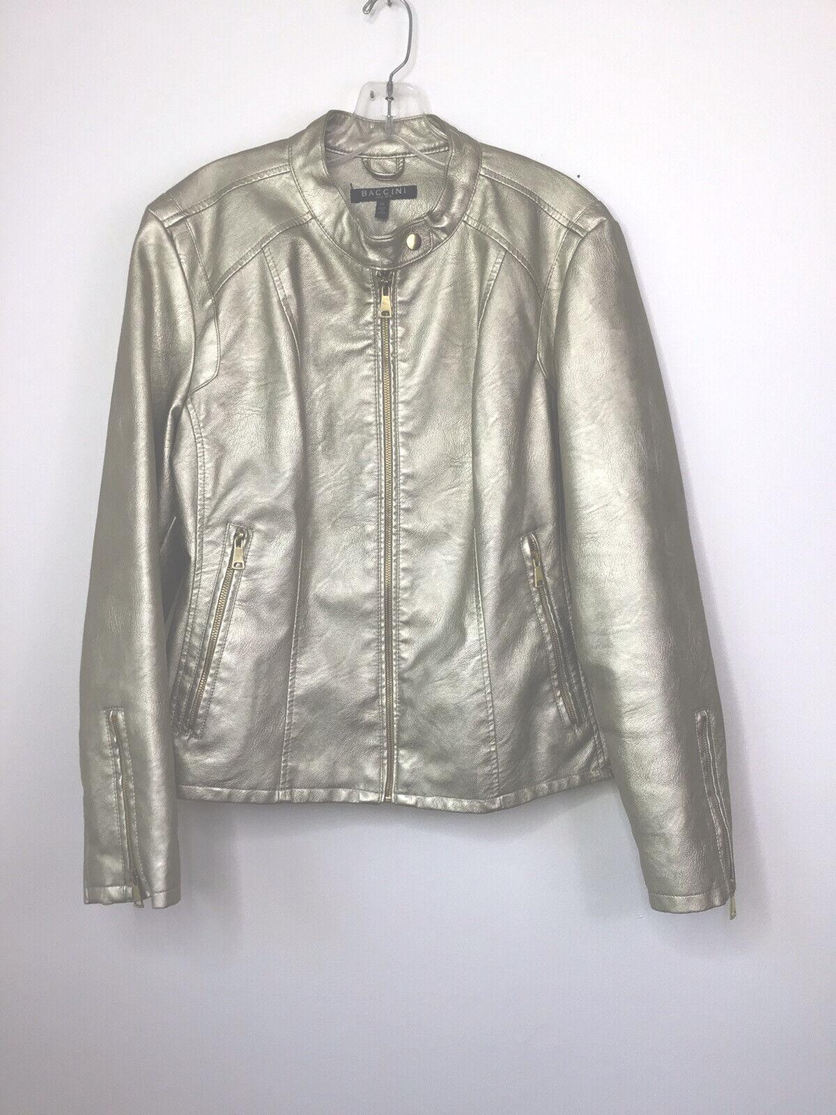 Baccini sz XL Women jacket Coat gold Metallic Full Zip Band Collar Lined Classy!