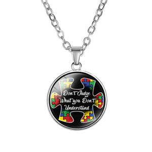 Autism Puzzle Heart Cabochon Glass Tibet Silver Locket Pendant Necklace