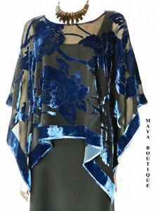 Silk-Burnout-Velvet-Poncho-Kimono-Top-Sapphire-amp-Black-No-Fringe-Maya-Matazaro