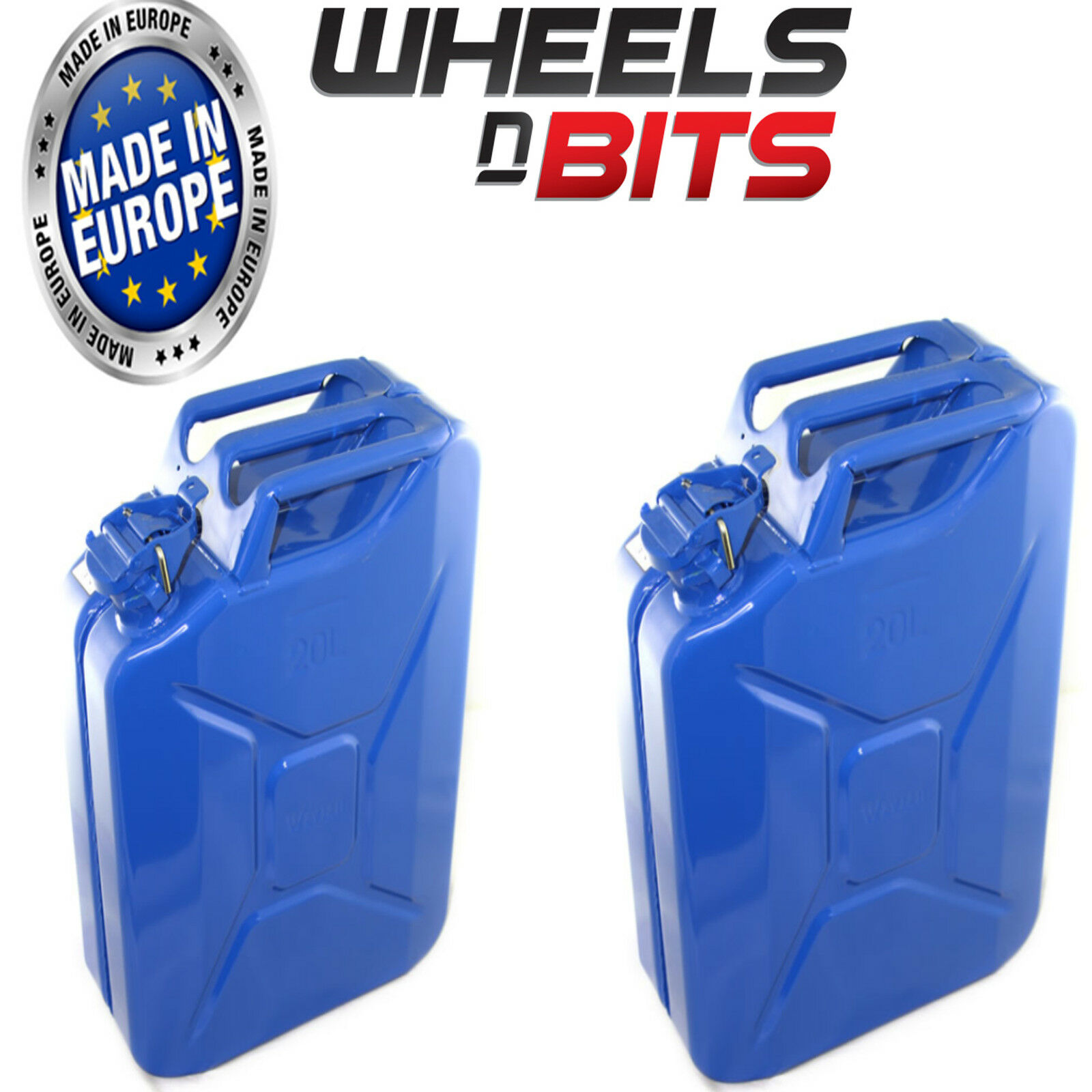2 x 20L Litri Blu Jerry Militare Can Carburante Olio Acqua Diesel Rosso verde