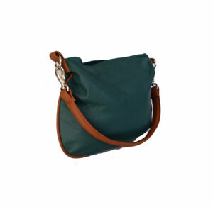 Image Is Loading Green Leather Hobo Bag Everyday Purse Small Flat