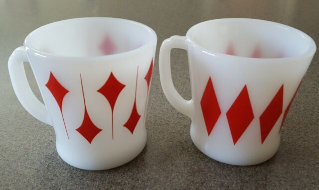 2 Fire King Anchor Hocking D Handle Coffee Mugs Red Kites and Diamonds