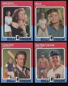 Details About Bull Durham 1988 Baseball Card Set Of 4 Including Kevin Costner Crash Davis