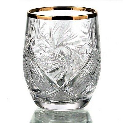 Russian Cut Crystal Shot Glasses Short Stem Gold rimmed Vodka Cognac 1.7 oz