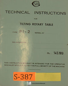 Manual Tilting Rotary Table SIP PI-2, Tilting Rotary Table, Technical Instructions Manual | eBay