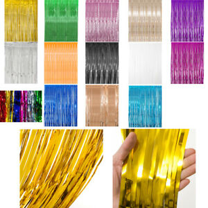 Metallic-Foil-Fringe-Curtains-Backdrop-Party-Decor-Photo-Booth-Support-3ft-x-8ft