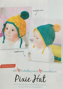0e8502a4a3e Image is loading KNITTING-CROCHET-PATTERN-Baby-Basketweave-Pixie-Pom-Pom-