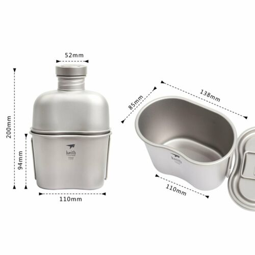 Keith Titanium Military Canteen Camping Hiking Outdoor Bottle Cup Large 1.8L