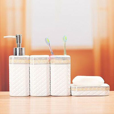 SetOf4 IVORY Bathroom Accessory Soap Lotion Toothbrush Cup Holder Clearance