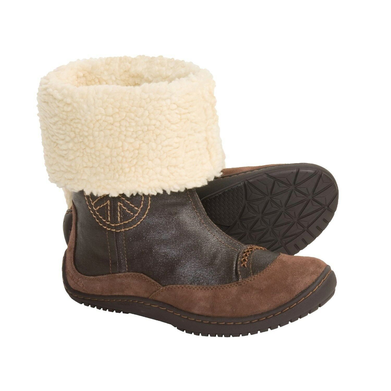 EARTH INNERPEACE NEU 130 SZ 5.5 B BROWN LEATHER BOOTS BOOTIES
