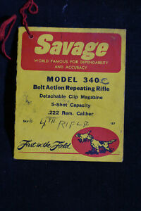 Savage Model 340 C Bolt Action Reproductible Fusil Tag-afficher Le Titre D'origine