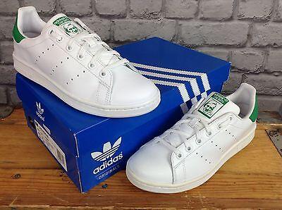 Adidas Damas Niñas UK 5 EU 38 Originals Stan Smith zapatillas Verde de Cuero Blanco