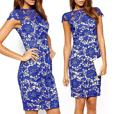 Womens Summer Lace Crochet Party Evening Cocktail Bodycon Midi Dress Club Dress