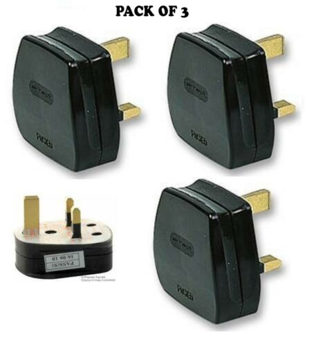 3A FUSE FITTED Pack of 3 UK MAINS PLUG BLACK
