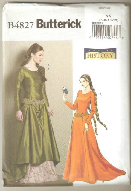 Butterick Sewing Pattern B4827 4827 Making History Medieval Dress ...
