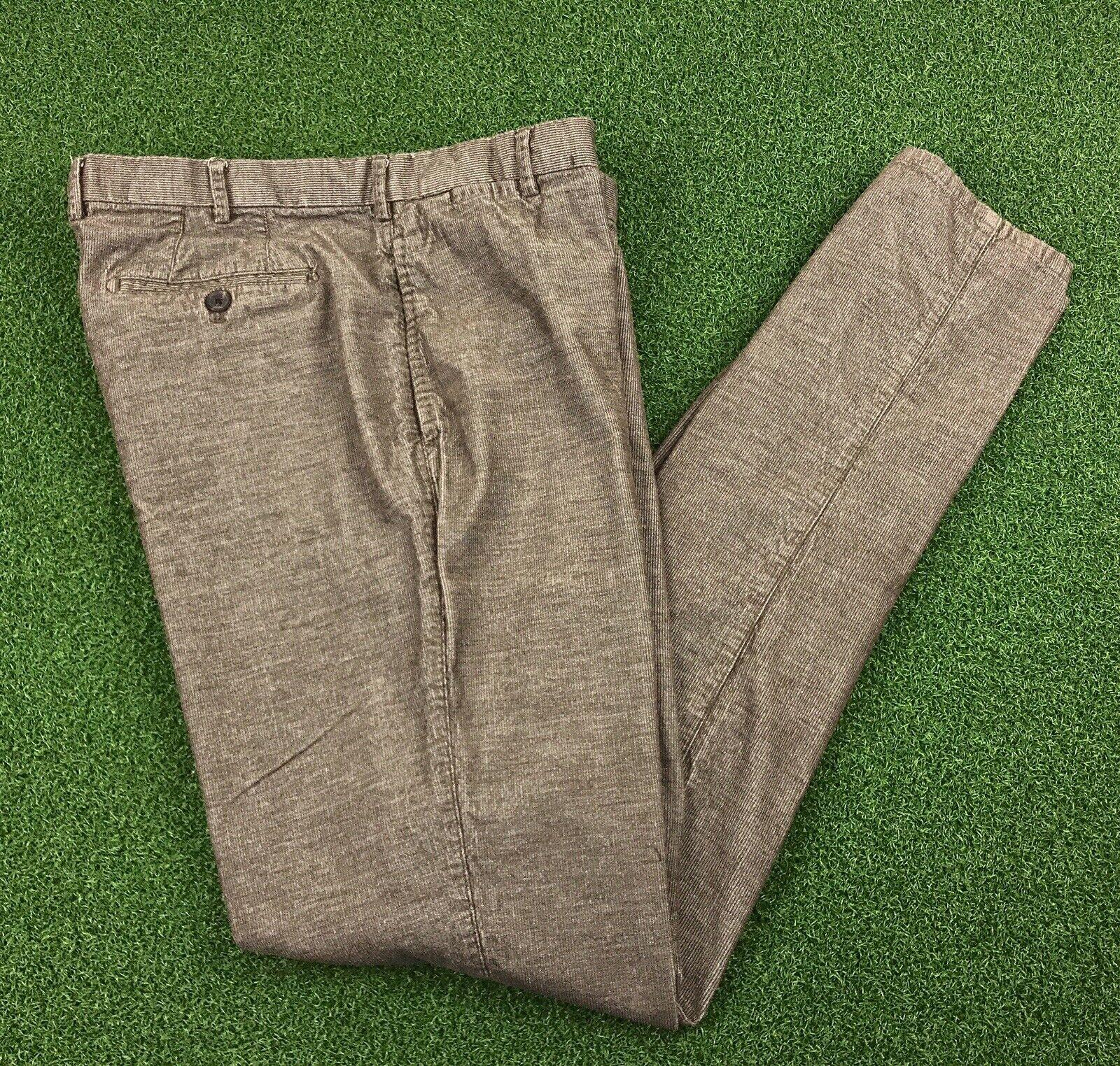 Peter Millar Mens Brown Corduroy Slim Straight Cotton Pants 34W 38L