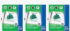 3x Bazic Top Loading Sheets Protectors 20 Sheets Per Pack Total 60 Sheets New