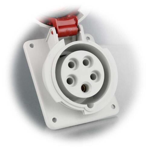 16A rot CEE Steckdose 5-polig 400V CEE-Einbausteckdose IP67 schräg 10°