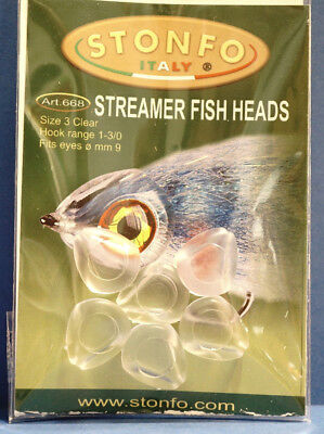 Stonfo STREAMER FISH HEADS Size 1 CLEAR Art 667 Augen Ø 5mm 12 pcs Haken #8-#6
