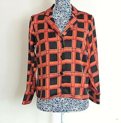 New Look Women Black Red Satin Buffalo Check Long Sleeve Summer Shirt Top Blouse