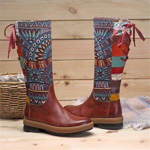 SOCOFY-Women-039-s-Leather-Retro-Bohemian-Splicing-Pattern-Shoes-Knee-High-Boots