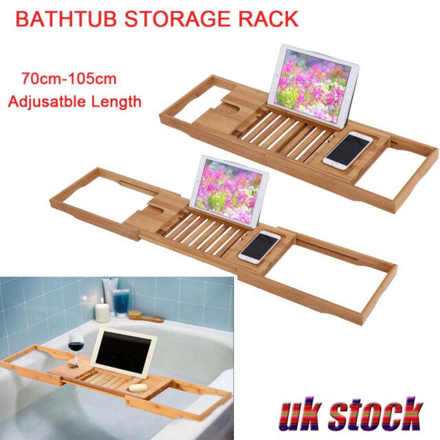 Adjustable Wooden Bamboo Bathtub Rack Caddy Shelf Tub Tray Stand ...