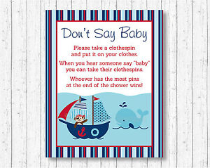 graphic regarding Don T Say Baby Printable referred to as Info relating to Nautical Pirate Whale Dont Say Child Child Shower Sport Printable