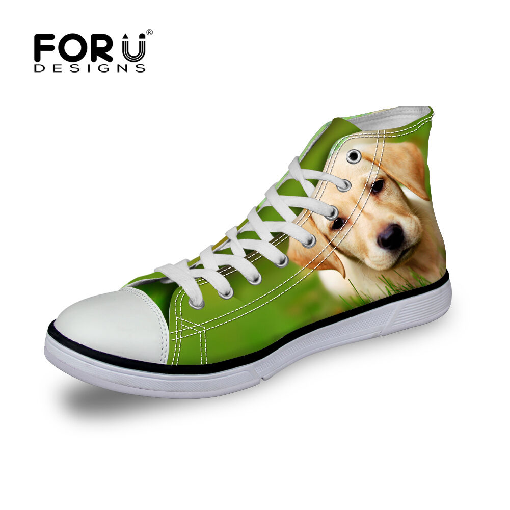 Fashion Dogs Womens Mens Canvas Sneakers High Top Casual Trainers Unisex  shoes