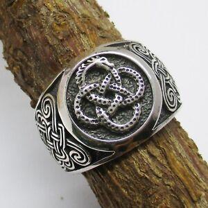 Ouroboros-Ring-Silber-925er-Schlange-Drache-keltischer-Knoten-Unendlichkeit