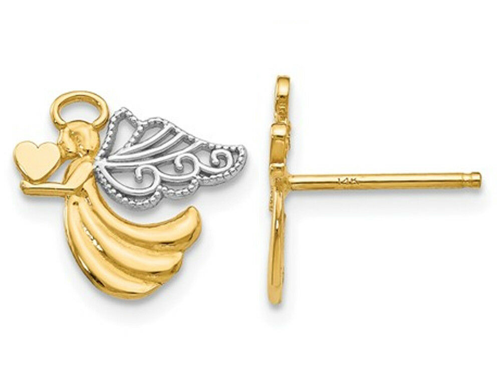 14K Yellow gold Angel with Heart Post Earrings
