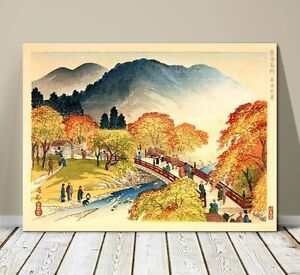 "Beautiful Japanese Landscape Art ~ CANVAS PRINT 24x18"" ~ Hiroshige Autumn View"