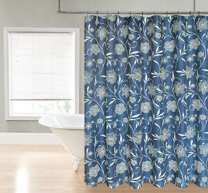 Image Is Loading Vanessa Navy Blue Floral Scroll Paisley Fabric Shower