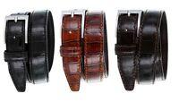 Mens Italian Leather Dress Casual Alligator Calfskin Designer Golf Belt, 1-1/8