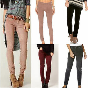 Women-Route-66-Slim-Cord-Burgundy-Grey-Black-Nude-Pants-Corduroy-Trousers-Jeans