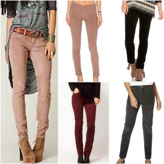 Womens US Route 66 Slim Cord Burgundy Grey Black  Pants Corduroy Trousers Jeans