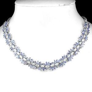 Plata-925-Natural-Genuino-Azul-Violeta-Tanzanita-Floral-Collar-20-Pulgadas