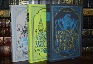 New Novels by Jules Verne 3 Volume Set Suede Leather Feel Ribbon Marker Deluxe