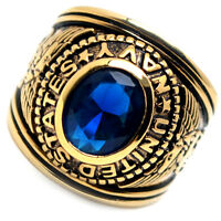 Accents Kingdom Men's Gold Plated Us Air Navy Military Ring Blue Montana Cz 8-13