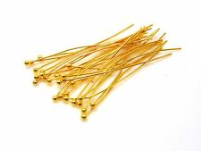 100 Pcs - 35mm Gold Plated Ball Head Pins Jewellery Craft Findings Beading J52