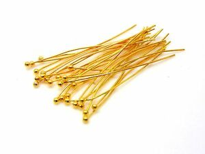 100-Pcs-30mm-Gold-Plated-Ball-Head-Pins-Jewellery-Craft-Findings-Beading-U36